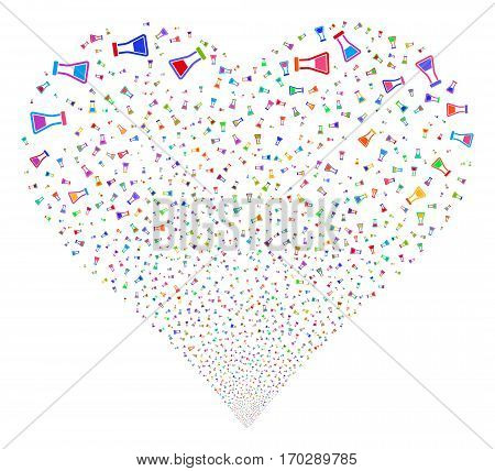 Flask fireworks with heart shape. Vector illustration style is flat bright multicolored iconic symbols on a white background. Object salute constructed from random pictograms.