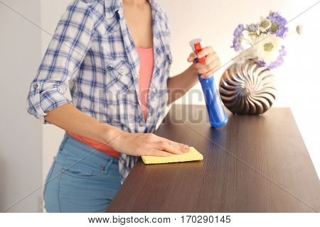 Close up view of woman cleaning furniture at home