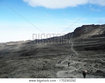 Dusty Trail On The High Plains Of Kilimanjaro