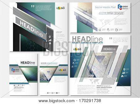 Social media posts set. Business templates. Easy editable abstract flat design template, layouts in popular formats, vector illustration. Chemistry pattern, hexagonal molecule structure. Medicine, science, technology concept.