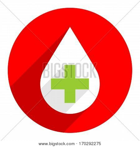 Use it in all your designs. Donate drop blood white sign with green plus on circular icon. Flat long shadow style. Vector illustration a graphic element for design