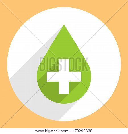 Use it in all your designs. First aid drop green sign with white cross on circular icon. Flat long shadow style. Vector illustration a graphic element for design