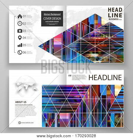 Business templates for square design bi fold brochure, magazine, flyer. Leaflet cover, abstract vector layout. Glitched background made of colorful pixel mosaic. Digital decay, signal error, television fail. Trendy glitch backdrop.