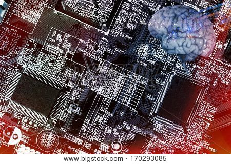 human brain and communication, microchips and electrodes, artificial-intelligence