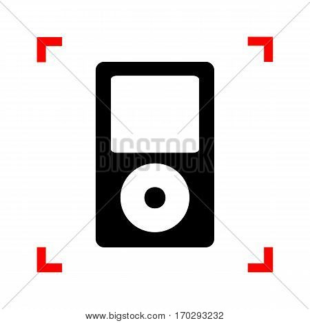 Portable music device. Black icon in focus corners on white background. Isolated.