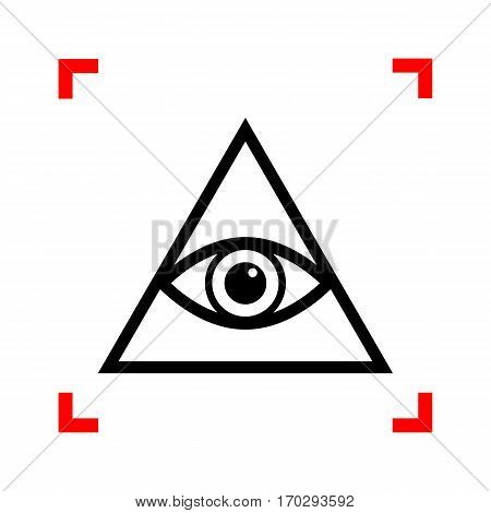 All seeing eye pyramid symbol. Freemason and spiritual. Black icon in focus corners on white background. Isolated.
