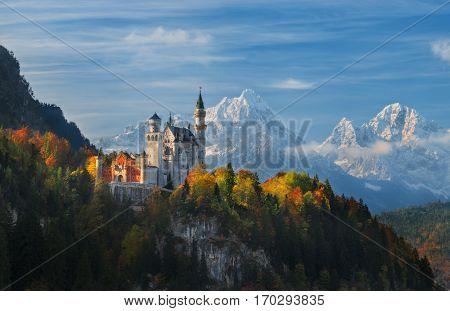 Germany. Bavaria. Panorama Neuschwanstein Castle. Mountain landscape