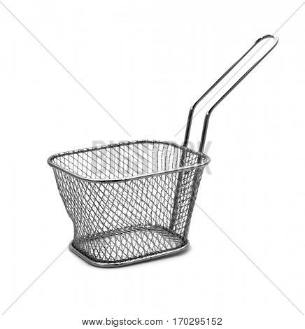 an stainless steel fry basket on an off-white background