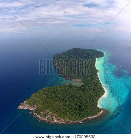 Aerial view on tropical Ko Rok island in the Andaman Sea, Thailand