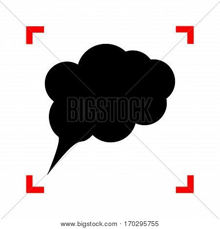 Speach bubble sign illustration. Black icon in focus corners on white background. Isolated.
