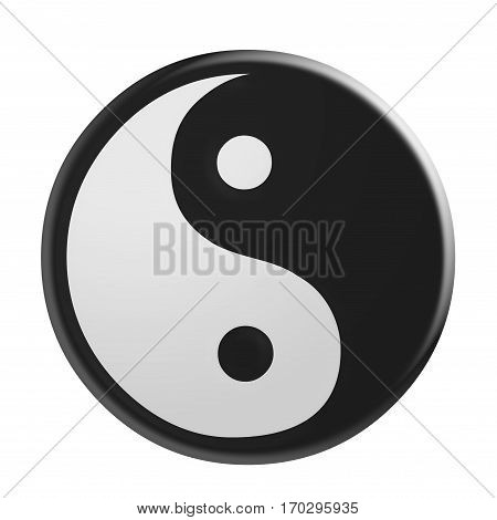 3d Yin And Yang Symbol illustration isolated on white background