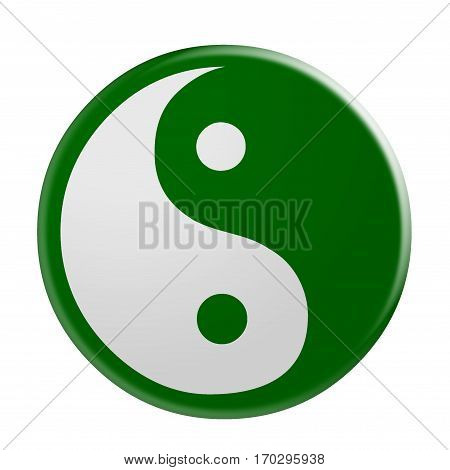 3d Green Yin And Yang Symbol illustration isolated on white background