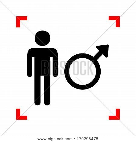 Male sign illustration. Black icon in focus corners on white background. Isolated.