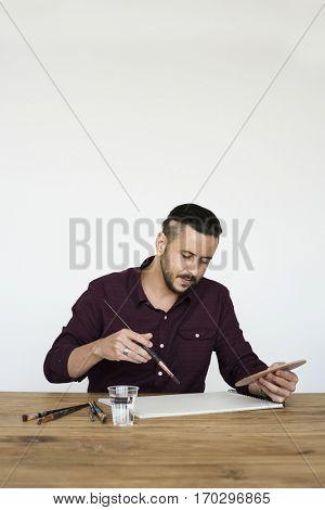Man Artist Painting Brush Sketchbook