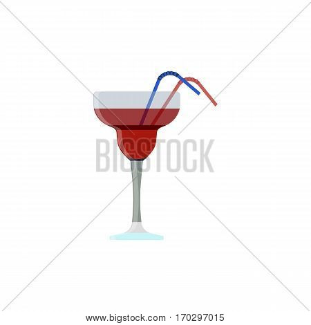 Alcoholic cocktails with drinking straw isolated on white background. Cocktail drink. Vector illustration eps10