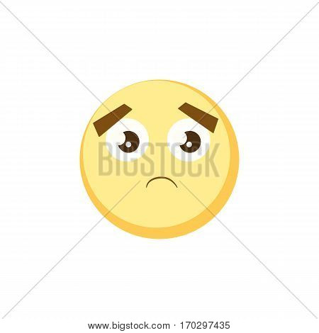 Yellow sad emoji icon for app game, ui or web design template. Vector emotion sign face