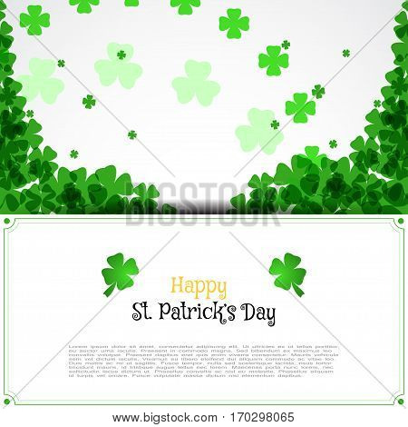 Vector Happy St. Patrick's Day envelope on the white background with text and clover leaves arranged in a circle and at corners.