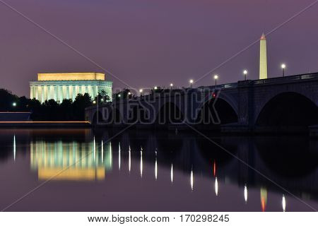 Washington DC - Abraham Lincoln Memorial, Washington Monument and Arlington Bridge at night