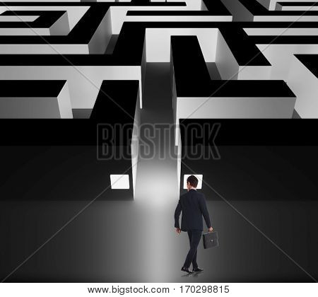 walking businessman deciding whether to enter the business maze, back view, holding a briefcase