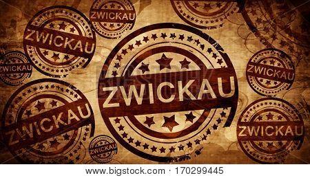 Zwickau, vintage stamp on paper background