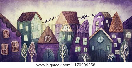 Watercolor painting of fantasy colorful houses
