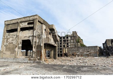 Abandoned Battleship island of Gunkanjima in nagasaki city of Japan