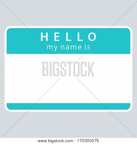 Use it in all your designs. Green blank name tag sticker HELLO my name is rounded rectangular badge. Quick and easy recolorable graphic element in technique vector illustration