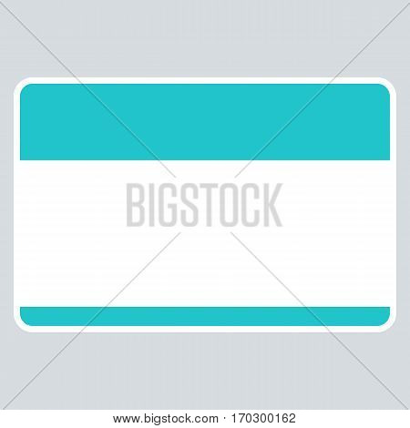 Use it in all your designs. Green blank name tag sticker without text HELLO my name is rounded rectangular badge. Quick and easy recolorable graphic element in technique vector illustration