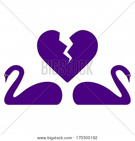 Divorce Swans vector icon symbol. Flat pictogram designed with indigo blue and isolated on a white background.