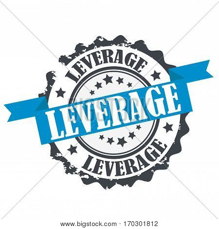 Leverage stamp.Sign.Blue seal solated on white background.
