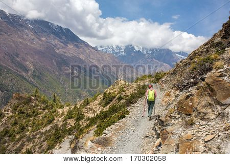 Beautiful mountain landscape on Annapurna circuit trek in Himalayas, Nepal