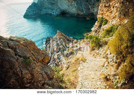 Adriatic coast in Croatia, Island Sipan. Beautiful scenery of the sea coast.