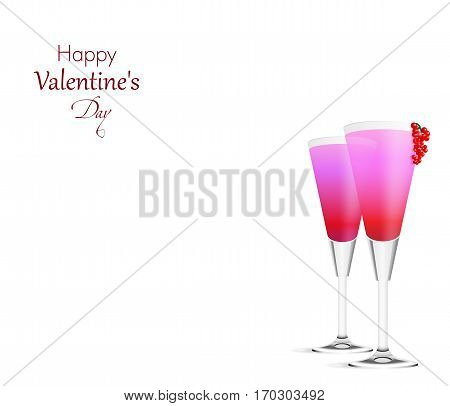 Romantic white background with two pink Cocktails