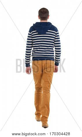 Back view of going  handsome man in jeans and striped sweater.  walking young guy . Rear view people collection.  backside view of person.  Isolated over white background.