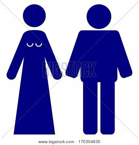 Married Groom And Bribe vector icon symbol. Flat pictogram designed with navy blue and isolated on a white background.