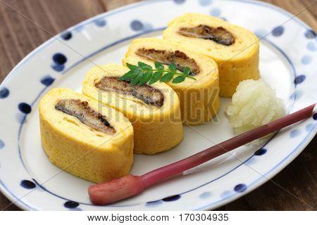 umaki, japanese eel rolled omelet, japanese cuisine