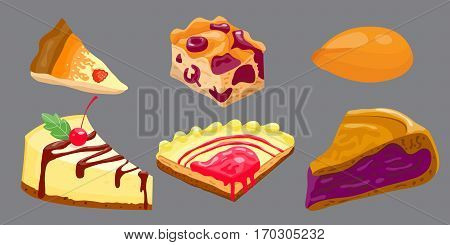 Homemade organic pie dessert vector illustration. Fresh golden rustic gourmet bakery. Traditional slice crust delicious. Seasonal tasty warm baked dish.