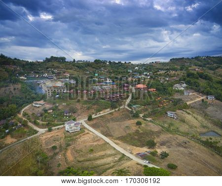 aerial view of khao kho petchabun north eastern of thailand most popular winter traveling destination