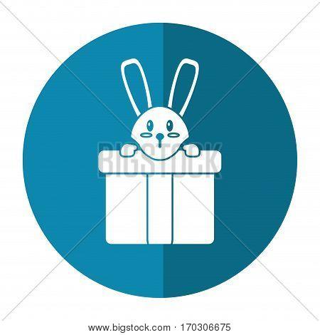 cute rabbit hiding gift box surprise shadow vector illustration eps 10