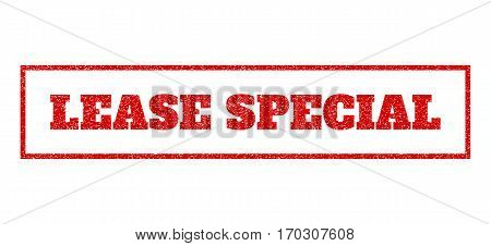 Red rubber seal stamp with Lease Special text. Vector tag inside rectangular shape. Grunge design and dirty texture for watermark labels. Scratched emblem.