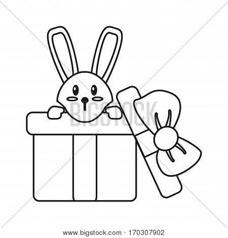 cute rabbit hiding gift box surprise thin line vector illustration eps 10