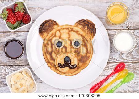 Cute pancake in shape of a bear