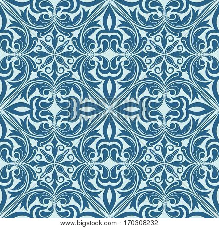 Seamless blue abstract floral ornament pattern.