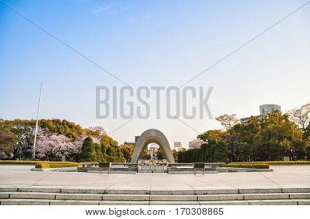 Hiroshima Peace Memorial garden near atomic bomb Dome