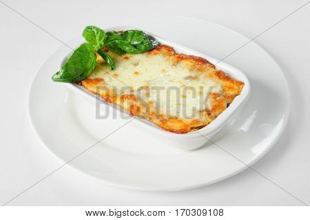Fresh hot lasagna in white plate on natural background