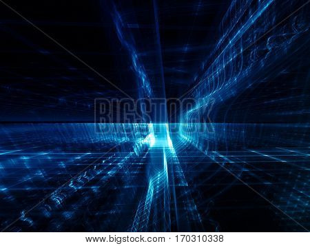 Abstract background element. Three-dimensional composition of glowing grids and wave shapes. Science and technology concept. Blue and black colors.