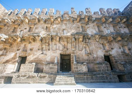 Part of Roman amphitheater of Aspendos, Belkiz, Antalya, Turkey