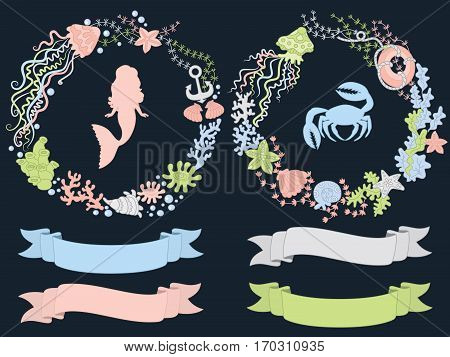 Vector sea wreath with crab, mermaid, seaweed and anchor
