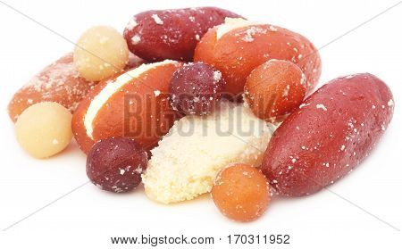 Popular Bangladeshi indian Sweetmeats over white background