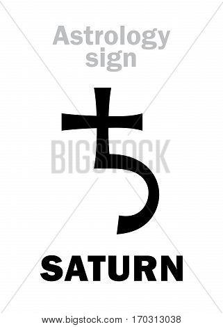 Astrology Alphabet: SATURN, classic major social planet. Hieroglyphics character sign (single symbol).